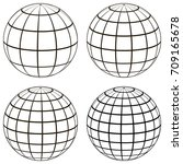 set 3d ball globe model of the... | Shutterstock .eps vector #709165678