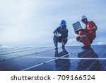electrician checking and... | Shutterstock . vector #709166524