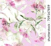 summer flowers seamless pattern.... | Shutterstock . vector #709167859