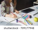 business woman working in...   Shutterstock . vector #709177948