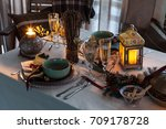 cozy festive table with burning ... | Shutterstock . vector #709178728