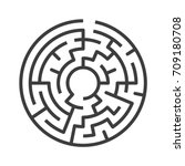 circular maze isolated on white ... | Shutterstock .eps vector #709180708