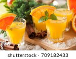 orange spicy vodka with thyme...   Shutterstock . vector #709182433