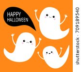 happy halloween. flying ghost... | Shutterstock . vector #709189540