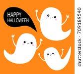 happy halloween. flying ghost... | Shutterstock . vector #709189540