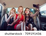 women drinking champagne and... | Shutterstock . vector #709191436