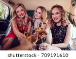 pretty women having party in a... | Shutterstock . vector #709191610