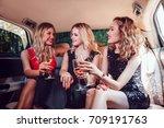 pretty women having party in a... | Shutterstock . vector #709191763
