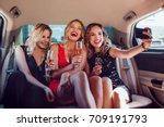 women drinking champagne and... | Shutterstock . vector #709191793