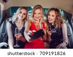 women drinking champagne and... | Shutterstock . vector #709191826