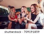 pretty women having party in a... | Shutterstock . vector #709191859
