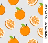 oranges with slice of a oranges ... | Shutterstock .eps vector #709192150