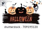watercolor halloween card. hand ... | Shutterstock . vector #709195120