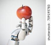 robotic hand holding an apple... | Shutterstock . vector #709195783