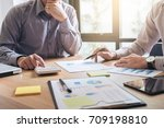 business team two executive... | Shutterstock . vector #709198810