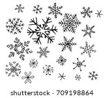 set of hand drawn snowflake...