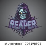 grim reaper logo mascot vector | Shutterstock .eps vector #709198978