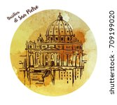 st. peter's cathedral  rome ... | Shutterstock .eps vector #709199020