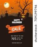 halloween sale . set of vector... | Shutterstock .eps vector #709199746