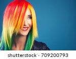 beautiful woman wearing color... | Shutterstock . vector #709200793