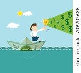 smart businesswoman on boat... | Shutterstock .eps vector #709202638