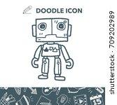 robot doodle | Shutterstock .eps vector #709202989