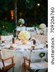 table set for an event party or ... | Shutterstock . vector #709206760