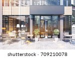 modern black and gray cafe... | Shutterstock . vector #709210078
