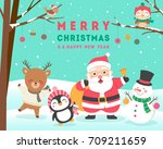 cute cartoon animals and santa... | Shutterstock .eps vector #709211659