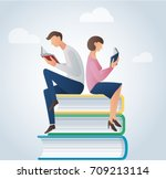 man and woman reading books... | Shutterstock .eps vector #709213114