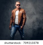 handsome blond  muscular male... | Shutterstock . vector #709213378