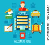 welcome to hotel design concept ... | Shutterstock .eps vector #709213654