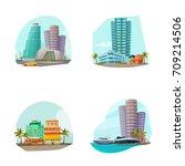 miami cityscape 4 famous...   Shutterstock .eps vector #709214506
