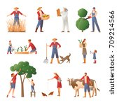 set of flat icons with people... | Shutterstock .eps vector #709214566