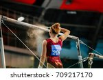 girl gymnast athlete get ready... | Shutterstock . vector #709217170