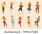 dancing people moves retro... | Shutterstock .eps vector #709217284