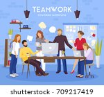 teamwork background with... | Shutterstock .eps vector #709217419