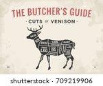 cut of meat set. poster butcher ... | Shutterstock .eps vector #709219906
