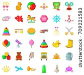 watercolor icons set. cartoon... | Shutterstock .eps vector #709221583