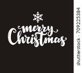 merry christmas lettering design | Shutterstock .eps vector #709225384