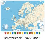 detailed europe map and... | Shutterstock .eps vector #709228558
