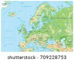 europe physical map. no... | Shutterstock .eps vector #709228753