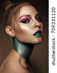 beautiful girl with creative... | Shutterstock . vector #709231120
