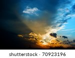 Storm dark clouds - stock photo