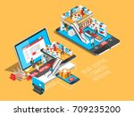 online shopping isometric... | Shutterstock .eps vector #709235200