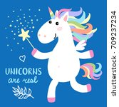 cute magical white unicorn with ... | Shutterstock . vector #709237234