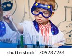 student doing research with... | Shutterstock . vector #709237264