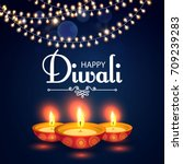 happy diwali. traditional... | Shutterstock .eps vector #709239283
