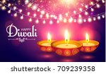 happy diwali. traditional... | Shutterstock .eps vector #709239358