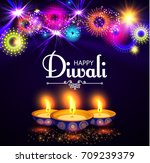 happy diwali. traditional... | Shutterstock .eps vector #709239379